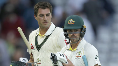 Pat Cummins and Travis Head leave Lord's having secured a draw for Australia.