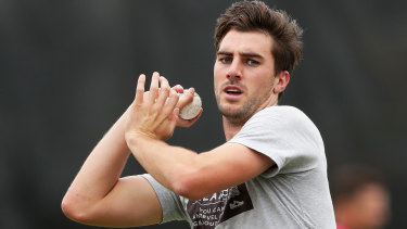 Pat Cummins bowls during a Sixers training session last week.
