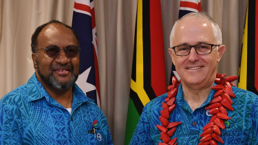 Then Prime Minister Malcolm Turnbull with Prime Minister of Vanuatu Charlot Salawi during the Pacific Islands Forum last year.