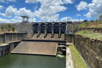 One of Wivenhoe Dam's five outflow gates on January 11, 2021, 10 years after the 2011 January floods.