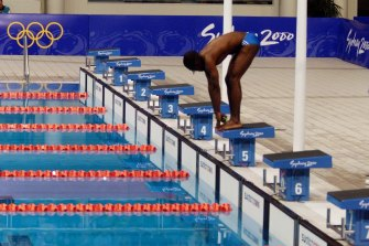 Eric Moussambani at the starting block after other swimmers in his heat were disqualified.