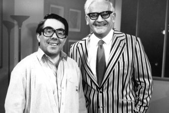 Ronnie Barker (right) with Ronnie Corbett.