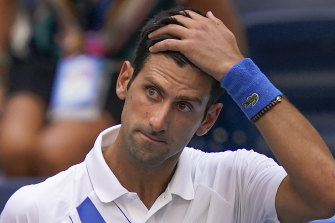 Novak Djokovic after he inadvertently hit a judge with a ball causing his disqualification from the US Open.