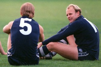 Glory days: Gary Ablett Sr. (left) and Billy Brownless (right) as Cats in 1995.