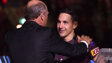 The King and I: Billy Slater is presented with the player of the series medal by Wally Lewis.