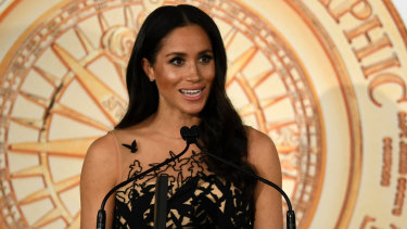 Meghan, the Duchess of Sussex presents the Young Conservationist of the Year award in Sydney on Friday night.