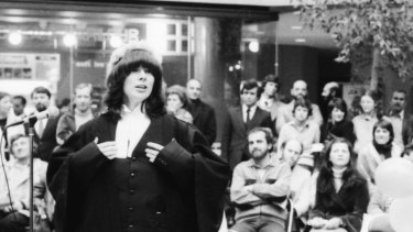 Ms Head in a mock trial at Collins Place during Law Week in 1981. She was counsel for the defendant in the case Goldilocks v the Three Bears.