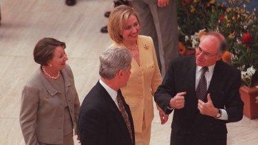 Bill Clinton talks with John Howard in Canberra, 1996.