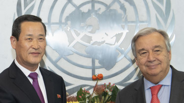 Kim Song, the Permanent Representative of the Democratic People's Republic of Korea, left, shakes hands with United Nations Secretary General António Guterres in 2018.