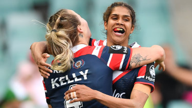 Speed blitz: Taleena Simon celebrates one of her four tries against the Red V.