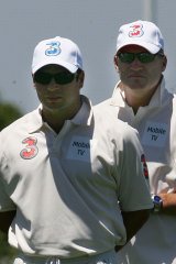 Brad Hodge and Dean Jones in a six-a-side match in 2005.