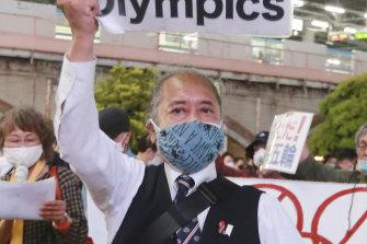 Demonstrators in Tokyo protest against the Games being held in Japan.