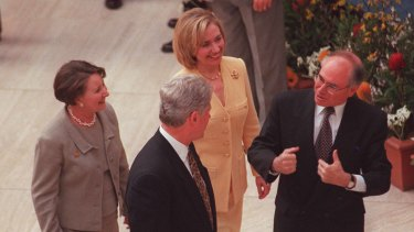 Bill Clinton talks with John Howard in Canberra, 1996.