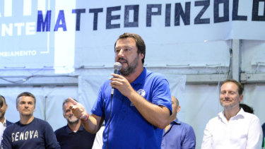 Italian Deputy Premier and Interior Minister, Matteo Salvini, speaks at a Lega party's meeting in Pinzolo, Italy, on Saturday.