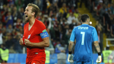 Harry Kane celebrates one of his World Cup goals, against Columbia.