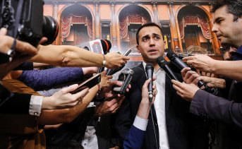 Five Star Movement leader Luigi Di Maio meets reporters at the Italian parliament.