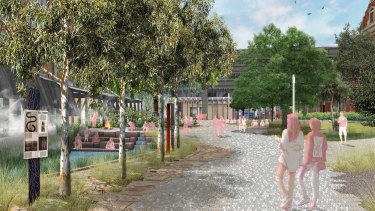 "An artist's impression of the entrance to the University of Melbourne's new student precinct. The ""eel pond"" is on the left and where the Bouverie Street creek once flowed."