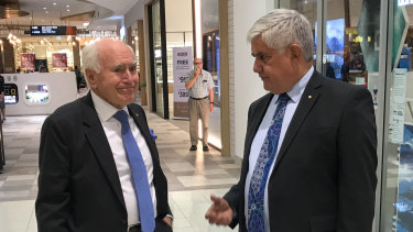 Former Prime Minister John Howard campaigns with Aged Care Minister Ken Wyatt in seat of Hasluck.