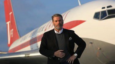 Still waiting: John Travolta will arrive in Australia in November empty handed after red tape grounded his gift of a vintage Qantas Boeing 707.