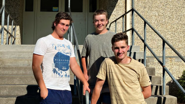 Corryong College VCE students (from left) Riley Saxon, Tom Sheather and Ryan Norman.