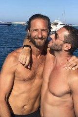 Justin Hemmes with a friend in Mykonos.