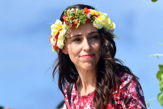 Jacinda Ardern at the Pacific Islands Forum in Tuvalu in August.