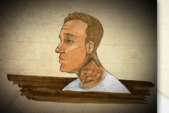Court sketch of Newport man Rian Farrell, 22, at the Melbourne Magistrates Court on Monday.
