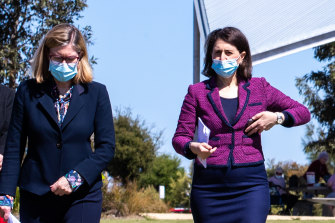 NSW Chief Health Officer Dr Kerry Chant and Premier Gladys Berejiklian at Monday's press conference.