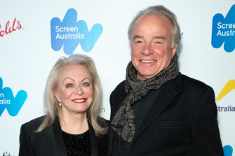 Jacki Weaver with her husband, actor Sean Taylor at a Screen Australia event in Los Angeles.