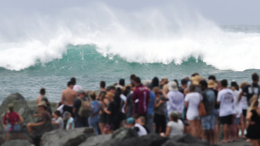 Large waves pummelled beaches like Kirra on the Gold Coast as Cyclone Oma approached in February.