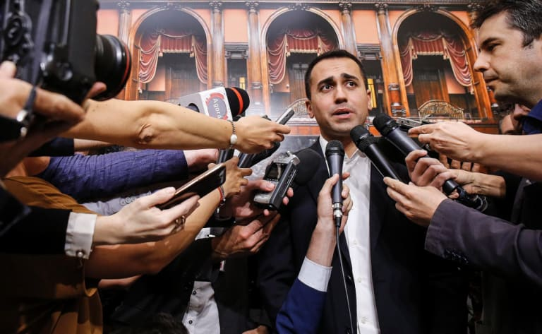Five Star Movement leader Luigi Di Maio meets reporters at the Italian parliament.