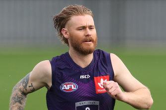 Cam McCarthy at training on Monday.