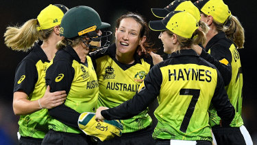 Australia's women celebrate the wicket of Dane Van Niekirk en route to yet another T20 World Cup final.