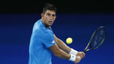 MichailPervolarakis of Greece during an ATP Tour match against PabloCarreno Busta of Spain on February 5.