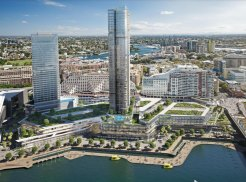 A design of the planned redevelopment of the Harbourside Shopping Centre included in the most recent concept proposal for the Darling Harbour site. The 166-metre tower is in the centre, while the existing Sofitel hotel is to the left.