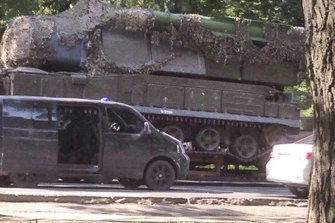 A Russian Buk-Telar missile launching system pictured in Ukraine.