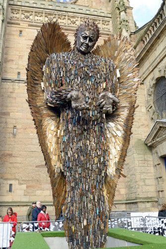 Britain's Knife Angel sculpture, which is made from 100,000 surrendered or seized knives.