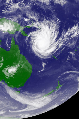 During the 2010-11 La Nina, Cyclone Yasi moves over the Coral Sea before slamming into the Queensland coast.