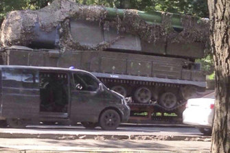 A Russian Buk-Telar missile launching system probably taken to the town of Makeevka, Ukraine, on July 17, 2014.