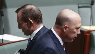 Tony Abbott and Peter Dutton in Parliament on Tuesday.