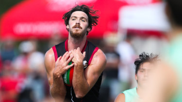 St Kilda's Dylan Roberton in action in late February.