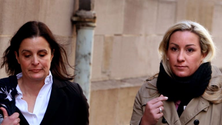 Keli Lane, right, on the first day of her murder trial in 2010.