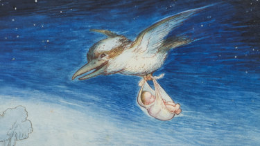 The May Gibbs painting shows a kookaburra carrying a baby in a sling.