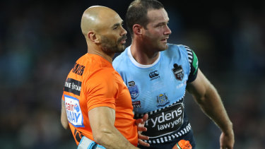 Boyd Cordner needed to be assisted from the field.