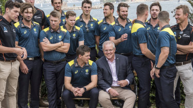 Prime Minister Scott Morrison hosts the Australian and New Zealand cricket teams at Kirribilli House.