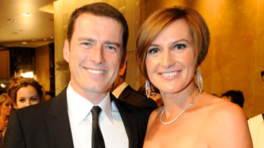 Cassandra Thorburn with her ex-husband Karl Stefanovic at the Logies in 2011.