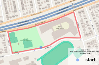 The 883 metre course for the 3100 goes around the Thomas A. Edison high school and a playground in Queens.