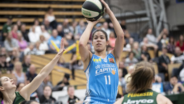 On fire: Canberra's Kia Nurse dominated the scoring against Dandenong.