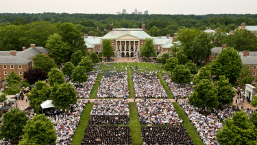 The 2018 Wake Forest University commencement crowd. The coaches worked at such schools as Wake Forest, Yale, Stanford, Georgetown and the University of Texas, among others.