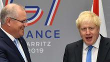 The Australian and British PMs, Scott Morrison and Boris Johnson, meet at the G7 on Monday.